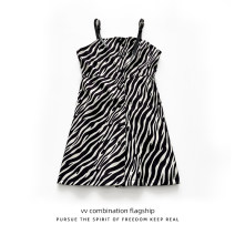 Dress Summer 2021 Zebra pattern S M L XL Middle-skirt singleton  Sleeveless commute One word collar middle-waisted Zebra pattern Single breasted A-line skirt other camisole 18-24 years old Type A VV combination Korean version Patchwork button print K040303 More than 95% polyester fiber