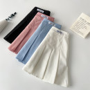skirt Summer 2021 S M L XL Pink white black blue Short skirt commute High waist Pleated skirt letter Type A 18-24 years old 4.2N-9 More than 95% brocade VV combination other Pleated zipper patch Korean version Other 100% Pure e-commerce (online only)
