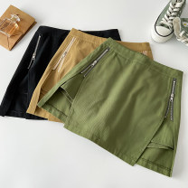 skirt Summer 2021 S M L Card black green Short skirt Versatile High waist A-line skirt Solid color Type A 18-24 years old 041403C More than 95% other VV combination other Asymmetric zipper stitching Other 100% Pure e-commerce (online only)