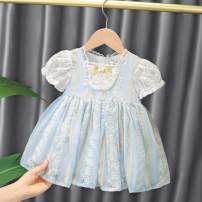 Dress wathet female Other / other 80cm,90cm,100cm,110cm,120cm Other 100% summer Korean version Short sleeve Solid color Pure cotton (100% cotton content) Princess Dress Class A 12 months, 18 months, 2 years, 3 years, 4 years, 5 years, 6 months, 9 months Chinese Mainland Shanghai