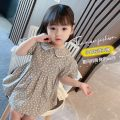 Dress Grey, pink female Other / other 80cm,90cm,100cm,110cm,120cm,130cm Other 100% summer leisure time Short sleeve other cotton Big swing YJY210003 Class B 7 years old Chinese Mainland