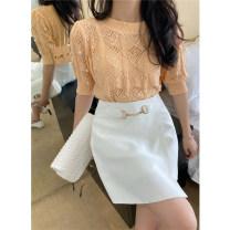 skirt Summer 2021 S,M,L Black, white Short skirt commute High waist A-line skirt Solid color Type A 25-29 years old More than 95% polyester fiber Asymmetry Korean version