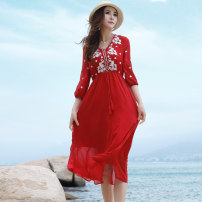Dress Summer of 2019 gules S,M,L,XL Mid length dress singleton  three quarter sleeve Sweet V-neck High waist Solid color Socket A-line skirt puff sleeve Others 25-29 years old Type A BORLIOU Embroidery, lace up WG9045 More than 95% Chiffon polyester fiber Bohemia