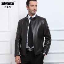 leather clothing SMEIS / SMEIS Youth fashion Stand collar black small brown small M/165 L/170 XL/175 XXL/180 XXXL/185 XXXXL/190 195/XXXXXL 200/6XL routine Leather clothes stand collar Straight cylinder zipper spring leisure time youth Sheepskin tide S17FF1208 Straight hem Arrest line Spring 2017