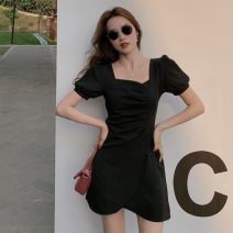 Dress Summer 2021 black S,M,L,XL Middle-skirt singleton  Short sleeve commute square neck middle-waisted Solid color Socket A-line skirt puff sleeve Others 18-24 years old Type A Korean version Fold, asymmetric X4-6 31% (inclusive) - 50% (inclusive) other polyester fiber