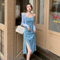 Dress Summer 2021 S,M,L,XL Mid length dress Two piece set Long sleeves commute High waist Broken flowers A-line skirt camisole 18-24 years old Korean version 31% (inclusive) - 50% (inclusive) other polyester fiber