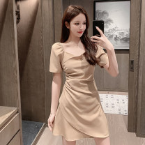 Dress Summer 2020 White, black, khaki S. M, l, XL, to ensure that the real object is consistent with the picture Short skirt singleton  Short sleeve commute V-neck High waist Solid color Irregular skirt routine 18-24 years old Retro Fold, asymmetric X5-26