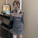 Dress Spring 2021 Gray, black Average size Short skirt singleton  Long sleeves commute Polo collar High waist Solid color Socket A-line skirt routine Others 18-24 years old Type A Korean version fold X2-20 31% (inclusive) - 50% (inclusive) other polyester fiber