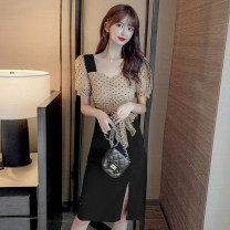 Dress Summer 2020 black S. M, l, XL, 2XL, to ensure that the object is consistent with the picture Mid length dress singleton  Short sleeve commute V-neck middle-waisted Dot Socket Pencil skirt puff sleeve Others 18-24 years old Type H Korean version X7-11 81% (inclusive) - 90% (inclusive) other