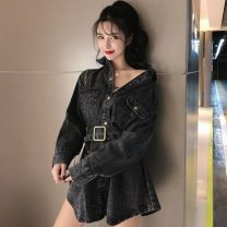 short coat Winter of 2019 S,M,L Blue, black Long sleeves Medium length Straight cylinder Single breasted Solid color 18-24 years old Other / other 31% (inclusive) - 50% (inclusive) H12-14 other