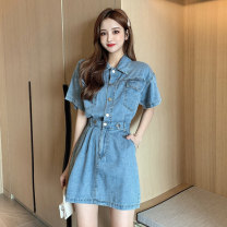 Dress Summer 2021 Denim blue S,M,L,XL Middle-skirt singleton  Short sleeve commute Polo collar High waist Solid color Single breasted A-line skirt routine Others 18-24 years old Type H Korean version X3 - twenty-four 31% (inclusive) - 50% (inclusive) other polyester fiber