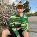 T-shirt / sweater Others Youth fashion green M,L,XL routine Socket Crew neck Long sleeves easy 2020 Exquisite Korean style routine stripe
