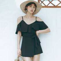 one piece  W M,L,XL black Skirt one piece With chest pad without steel support Nylon, spandex female Short sleeve Solid color