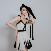 one piece  Summer 12 M,L,XL Off white Skirt one piece With chest pad without steel support female Sleeveless Casual swimsuit