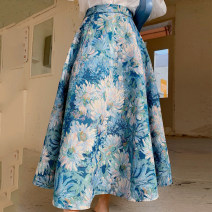 skirt Spring 2021 XS,S,M,L,XL Decor, light blue longuette grace High waist Umbrella skirt Decor Type A 25-29 years old 81% (inclusive) - 90% (inclusive) brocade polyester fiber printing