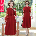 Middle aged and old women's wear Spring 2021 Red black Navy XL 2XL 3XL 4XL 5XL fashion Dress easy singleton  Solid color 40-49 years old Socket moderate Crew neck Medium length routine FH-3386 Xianai Phoenix Button other Other 100% 96% and above Pure e-commerce (online only) Single breasted other