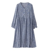 Dress Autumn 2020 Temperament blue S,M,L Mid length dress singleton  Long sleeves commute V-neck High waist Broken flowers Single breasted A-line skirt routine 18-24 years old Type A Retro Lace up, button More than 95% Chiffon polyester fiber