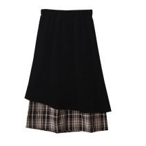 skirt Autumn 2020 Average size Apricot, versatile black Mid length dress Versatile Irregular lattice Type A 18-24 years old corduroy Splicing