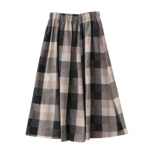 skirt Summer of 2019 Average size Black grey contrast Mid length dress Versatile High waist A-line skirt lattice Type A 18-24 years old 51% (inclusive) - 70% (inclusive) cotton