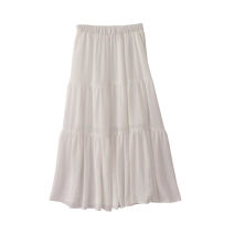 skirt Summer of 2018 Average size longuette Versatile High waist A-line skirt Solid color Type A 18-24 years old More than 95% Chiffon polyester fiber Splicing