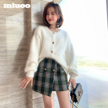 skirt Spring 2020 S M L XL Black check and green check (in stock) Short skirt commute High waist Irregular lattice Type A S-60621 More than 95% miuco other Ol style Other 100% Pure e-commerce (online only)
