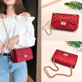 Bag The single shoulder bag PVC Jelly bag Mai Lian brand new Japan and South Korea Small leisure time hard Buckle no Solid color Single root One shoulder cross carry Yes youth Horizontal square candy Chain handle