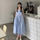 Dress Summer 2021 Blue, pink Average size Mid length dress singleton  Sleeveless commute V-neck Loose waist Solid color Socket other routine camisole 18-24 years old Type A Other / other Korean version 51% (inclusive) - 70% (inclusive) other other