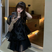 Dress Summer 2021 S, M Short skirt singleton  Short sleeve commute V-neck High waist Solid color Socket A-line skirt puff sleeve camisole 18-24 years old Type A Other / other Korean version Netting 51% (inclusive) - 70% (inclusive) other other