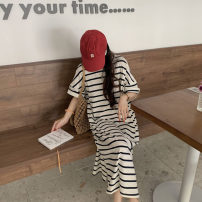 Dress Summer 2021 stripe Average size Mid length dress singleton  elbow sleeve commute Crew neck Loose waist stripe Socket other other Others 18-24 years old Type H Other / other Korean version 51% (inclusive) - 70% (inclusive) other other