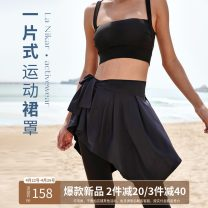 Sports skirt K0587 Black, retro grey, black pre-sale, retro grey pre-sale La Nikar female Average size (adult) Summer 2021 Sports & Leisure Quick drying, breathable, moisture absorption and perspiration Sports life nylon