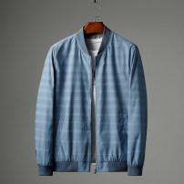 Jacket Huasachi Youth fashion 20-1162 light blue jacket, 20-0127 blue jacket 165/84A,170/88A,175/92A,180/96A,185/100A,190/104A,190/108B thin standard go to work autumn 20-1162 Wear out Baseball collar tide