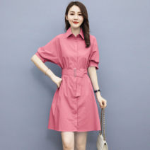 Dress Summer 2021 White purple bean paste pink orange S M L XL Short skirt singleton  Short sleeve commute square neck High waist Solid color A-line skirt routine 25-29 years old Type A Chu Xin Simplicity More than 95% other Other 100% Pure e-commerce (online only)