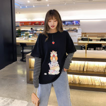 T-shirt White black S M L XL XXL Spring 2020 Long sleeves Crew neck easy Regular other commute cotton 96% and above 18-24 years old Korean version youth Animal design Acting moment W-2862-1 Cotton 100% Exclusive payment of tmall