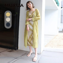 Dress Summer 2021 F longuette singleton  Long sleeves commute V-neck Loose waist Solid color Socket A-line skirt routine camisole 25-29 years old Type A MURUA Simplicity printing More than 95% other Other 100% Same model in shopping mall (sold online and offline)