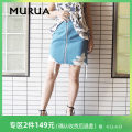 skirt Summer of 2018 S M 51 ice blue 09 black Middle-skirt Natural waist Denim skirt Solid color 18-24 years old More than 95% MURUA cotton Cotton 100%