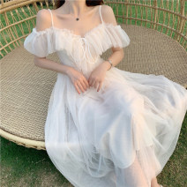 Dress Summer 2020 Off white S,M,L longuette singleton  Short sleeve commute V-neck High waist Solid color zipper Big swing Lotus leaf sleeve camisole 18-24 years old Type A Other / other Korean version Pleats, gauze, lace 71% (inclusive) - 80% (inclusive) Lace other