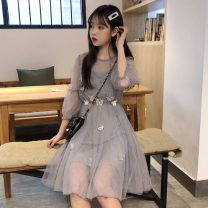 Dress Summer 2020 Apricot two-piece set, pink two-piece set, gray two-piece set Average size Mid length dress Two piece set three quarter sleeve commute Crew neck Loose waist other Socket A-line skirt bishop sleeve Others 18-24 years old Type A Other / other Korean version Gauze other other