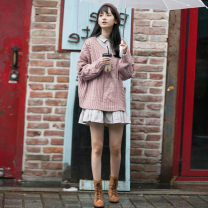 Dress Winter 2020 Blue sweater + skirt, pink sweater + skirt, single blue sweater, single pink sweater, single skirt S,M,L,XL Mid length dress Two piece set Long sleeves commute Polo collar High waist Solid color Socket Pleated skirt other Others Type A Korean version Fold, splice knitting