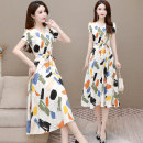 Dress Summer 2021 L XL 2XL 3XL 4XL 5XL Mid length dress singleton  Short sleeve commute V-neck middle-waisted Decor Socket A-line skirt routine Others 40-49 years old Type A Murray Korean version Zipper printing More than 95% polyester fiber Other polyester 95% 5% Pure e-commerce (online only)