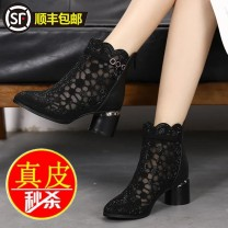 Boots 35,36,37,38,39,40 Black, gold Multi material splicing Middle heel (3-5cm) Thick heel Mesh Middle cylinder Sharp point No interior Netting Spring 2021 Back zipper Europe and America rubber Solid color Fashion boots Adhesive shoes Youth (18-40 years old), middle age (40-60 years old) Thin money