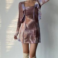 Dress Spring 2021 Blue, black, lavender, rust brown S, M Short skirt singleton  Long sleeves commute V-neck High waist Solid color Socket A-line skirt routine camisole Type A other