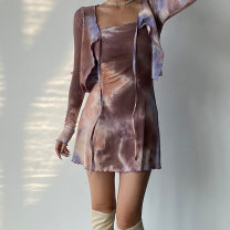 Dress Spring 2021 Blue, black, lavender, rust brown S, M Short skirt singleton  Long sleeves commute V-neck High waist Solid color Socket A-line skirt routine camisole Type A other