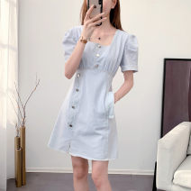 Dress Summer 2021 blue S M L Middle-skirt singleton  Short sleeve commute square neck High waist Solid color Socket A-line skirt puff sleeve Others 18-24 years old Type A Opifen Korean version Pleated button 51% (inclusive) - 70% (inclusive) Denim cotton Pure e-commerce (online only)