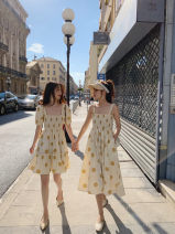 Dress Summer 2020 Yellow [short sleeve dress], yellow [suspender dress] M,L,XL,2XL,3XL,4XL longuette singleton  commute Loose waist Dot Socket camisole 25-29 years old Korean version Fold, splice other