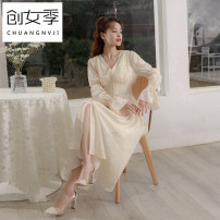 Dress Spring 2021 White 1 S M L longuette singleton  Long sleeves commute V-neck High waist Solid color Single breasted A-line skirt routine Others 25-29 years old Women's season Korean version Button Q51912 More than 95% polyester fiber Polyester 100% Pure e-commerce (online only)