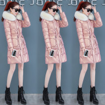 Cotton padded clothes Black Pink M L XL XXL Winter 2020 Xia Miao Medium length Long sleeves thickening zipper commute Hood routine Self cultivation Solid color Korean version 8951XJYL180 Three dimensional decorative zipper with stitched pockets and thread polyester fiber 25-29 years old