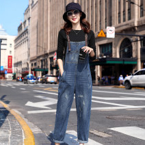 Jeans Spring 2021 Denim blue S M L XL trousers High waist rompers routine 25-29 years old Worn out wash Multi Pocket scratch pattern Cotton denim Dark color GDL6003 Godeline 91% (inclusive) - 95% (inclusive) Cotton 95% polyethylene terephthalate (polyester) 5% Pure e-commerce (online only)