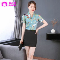 Hotel uniform Summer 2020 S M L XL XXL XXXL LMY-8046 18-25 years old Han zefei Polyester fiber 90% polyurethane elastic fiber (spandex) 10% Pure e-commerce (online only) spandex 96% and above