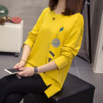 T-shirt Yellow white L XL XXL XXXL XXXXL Autumn 2020 Long sleeves Crew neck easy Regular routine commute cotton 86% (inclusive) -95% (inclusive) 25-29 years old Korean version Cartoon animation Diwei D20QT9029 Cotton 90% polyurethane elastic fiber (spandex) 10%
