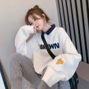 Women's large Spring 2021 Blue white M (suitable for 80-110 kg) l (suitable for 110-140 kg) XL (suitable for 140-170 kg) XXL (suitable for 170-200 kg) Sweater / sweater singleton  commute easy moderate Socket Long sleeves Cartoon animation Korean version Polo collar routine printing and dyeing xx153
